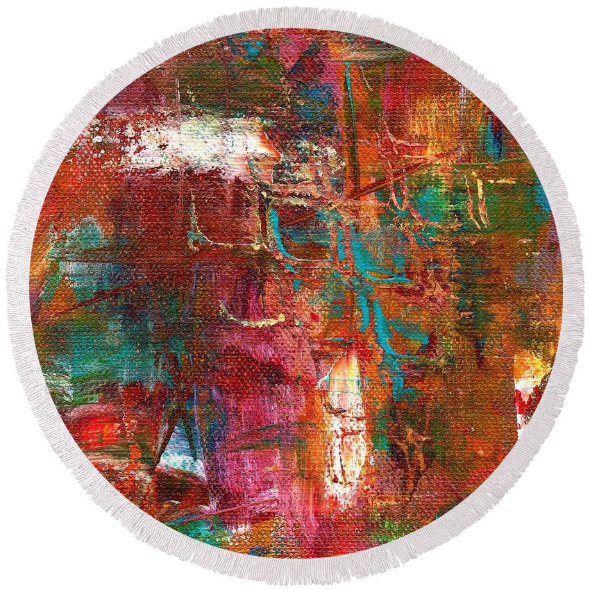 Abstract Round Beach Towel featuring the mixed media Crazy Abstract 1 by Dira Reeves