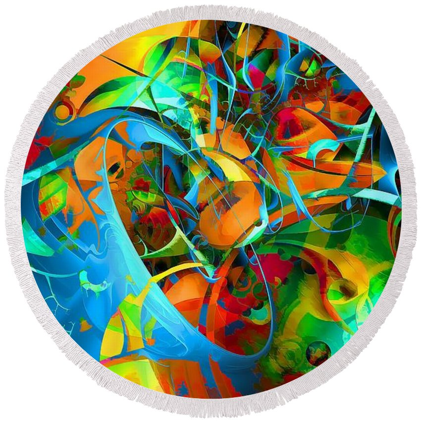 Abstraction Round Beach Towel featuring the digital art Crazy Blue 3566 by Marek Lutek