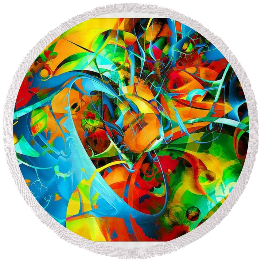 Abstraction Round Beach Towel featuring the digital art Crazy Blue 3569 by Marek Lutek