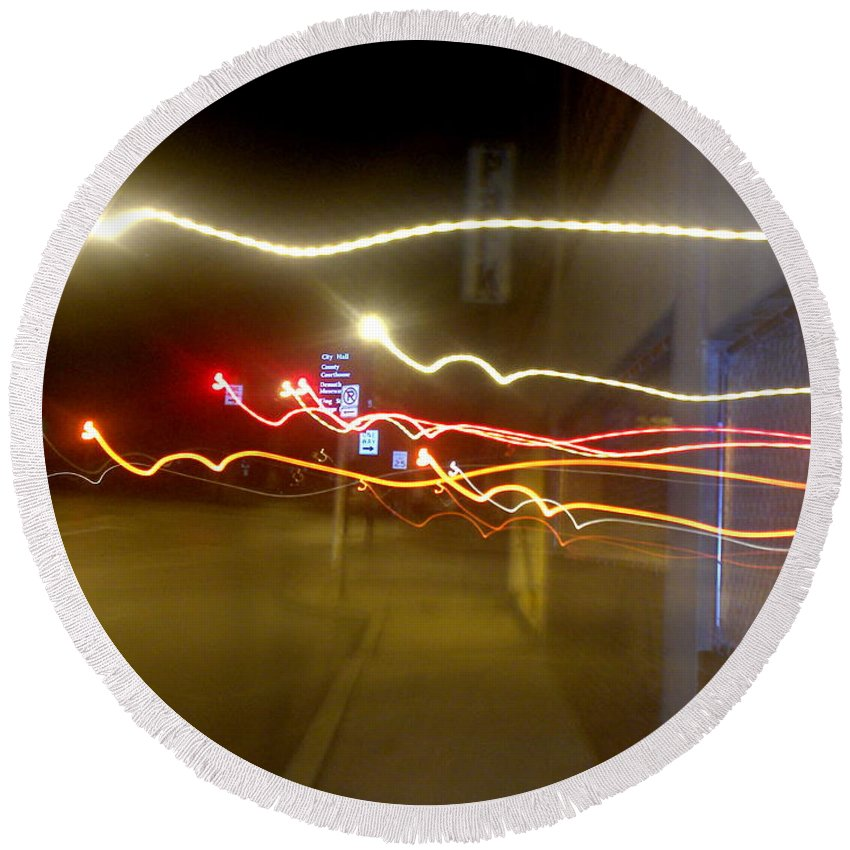 Photograph Round Beach Towel featuring the photograph Crazy Duke Street Lights by Thomas Valentine