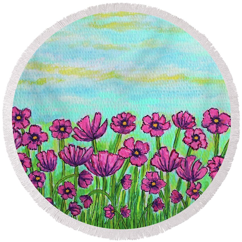 Cosmos Round Beach Towel featuring the painting Crazy For Cosmos by Lisa Lorenz