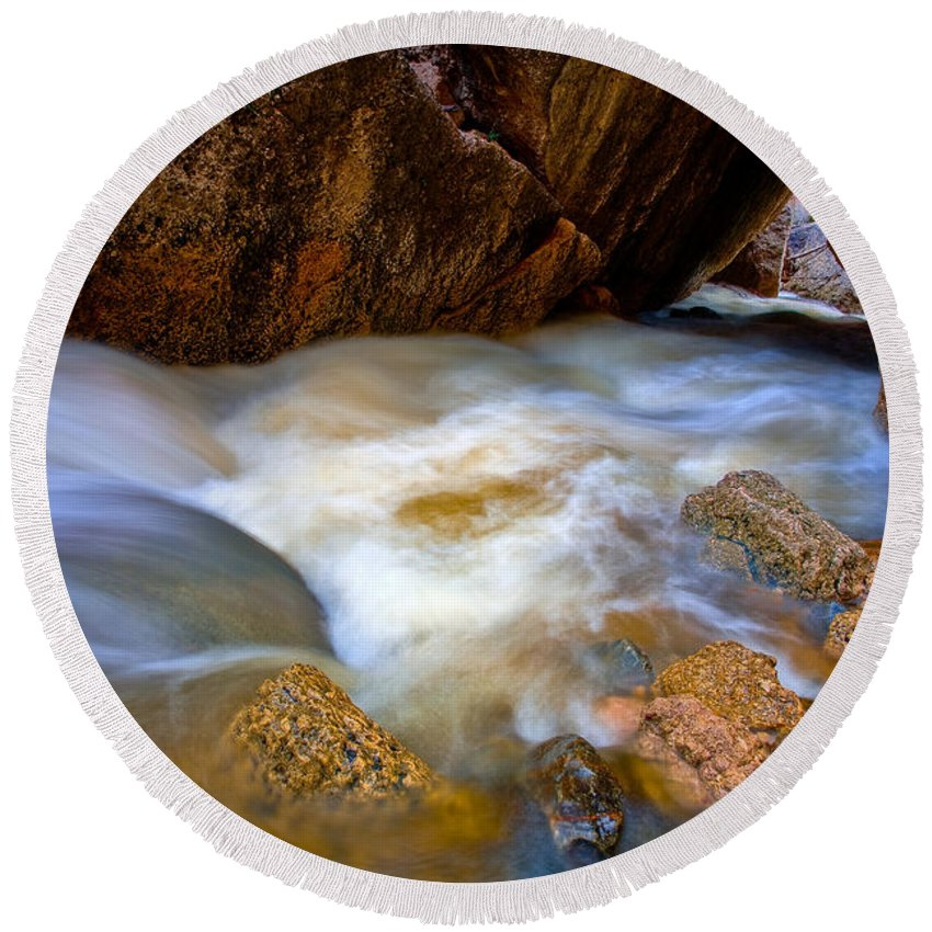 Crazy Woman Creek Round Beach Towel featuring the photograph Crazy Woman Disappears by Rikk Flohr