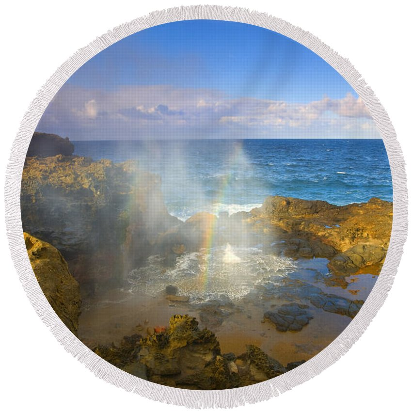 Blowhole Round Beach Towel featuring the photograph Creating Miracles by Mike Dawson