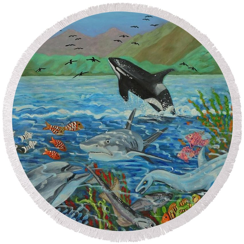 Creation Fifth Day Round Beach Towel featuring the painting Creation Fifth Day Sea Creatures And Birds by Caroline Street