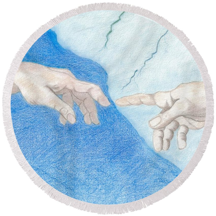 Creation Round Beach Towel featuring the drawing The Creation Hands Sistine Chapel Michelangelo by Bernardo Capicotto