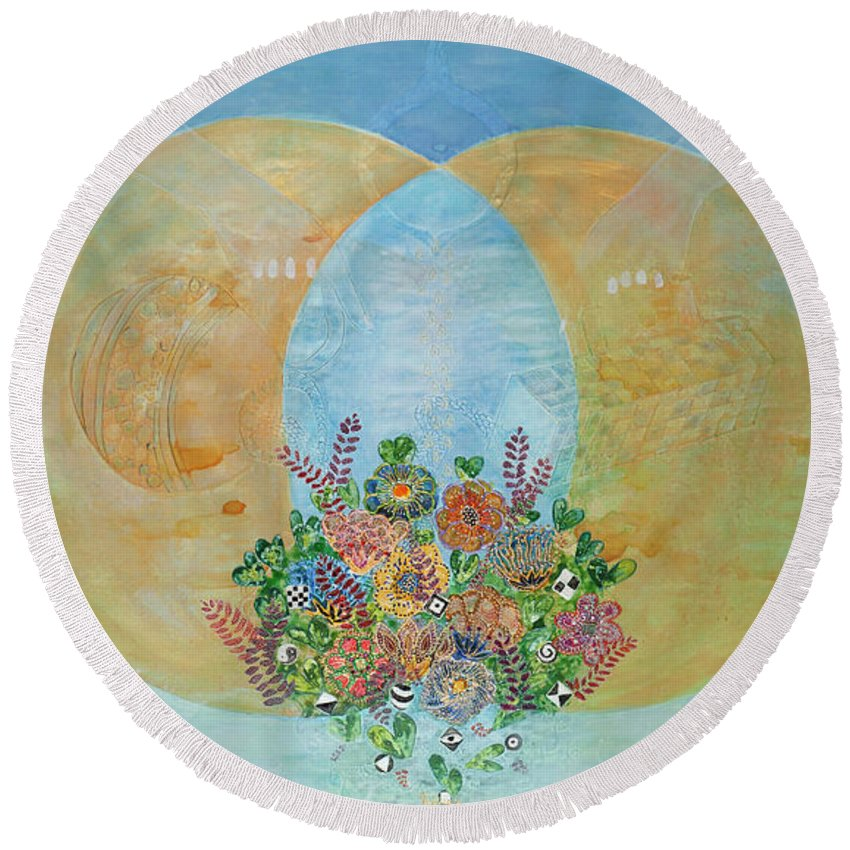 Creation Round Beach Towel featuring the painting Creation by Yael Bat Adam