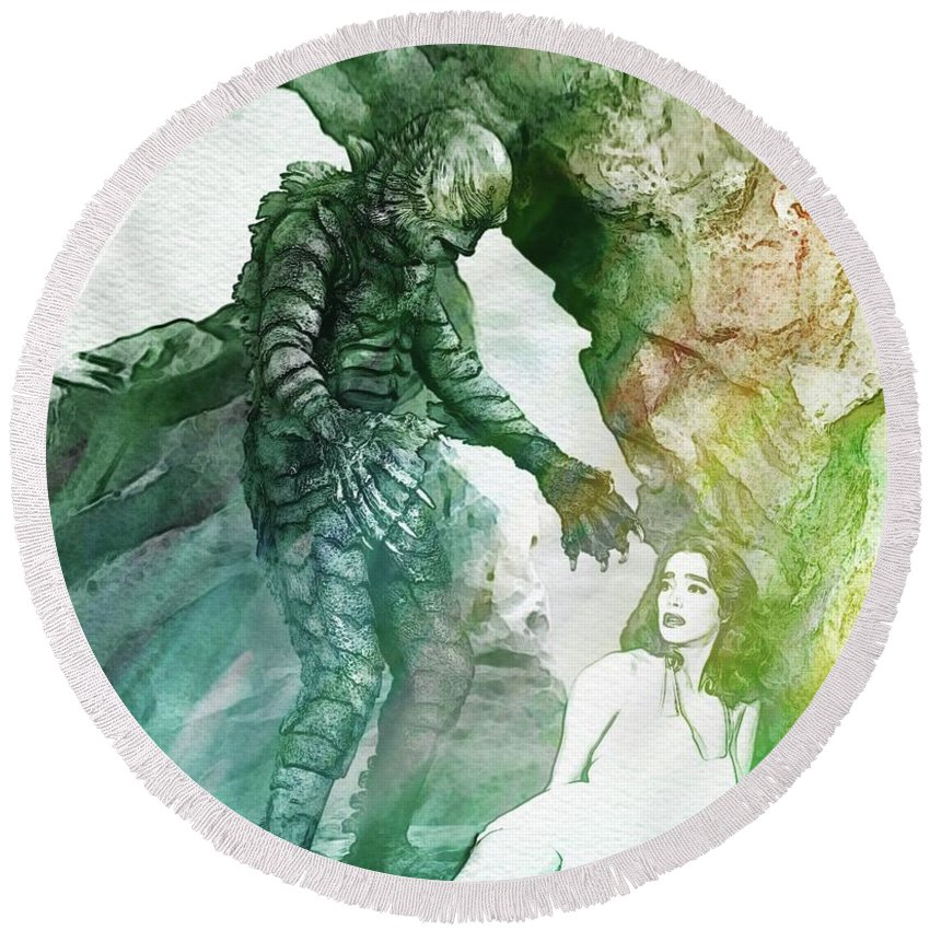 Creature Round Beach Towel featuring the digital art Creature From The Black Lagoon by John Springfield
