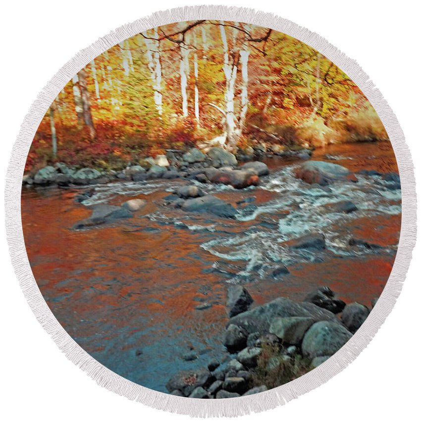 Creek . 10 / 17 Round Beach Towel featuring the photograph Creek 5 by Joseph F Safin