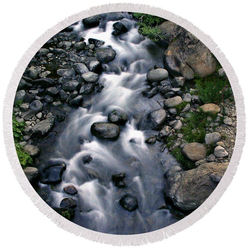 Creek Round Beach Towel featuring the photograph Creek Flow by Peter Piatt