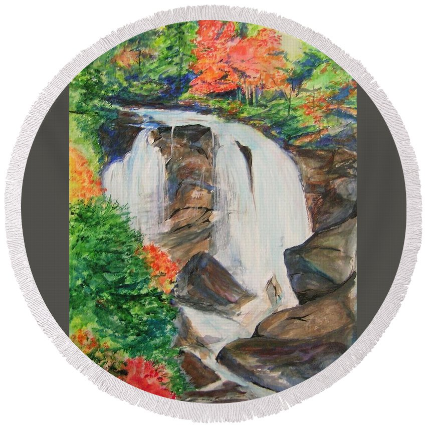 Creek Round Beach Towel featuring the painting Creek In Autumn by Lizzy Forrester