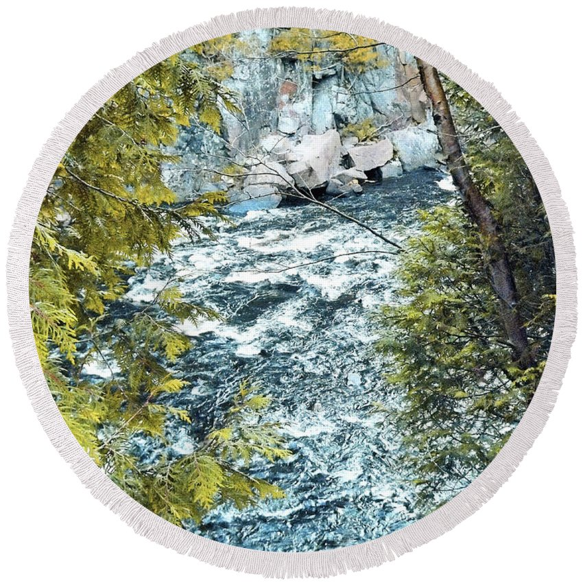 Creek Round Beach Towel featuring the photograph Creek by Joseph F Safin