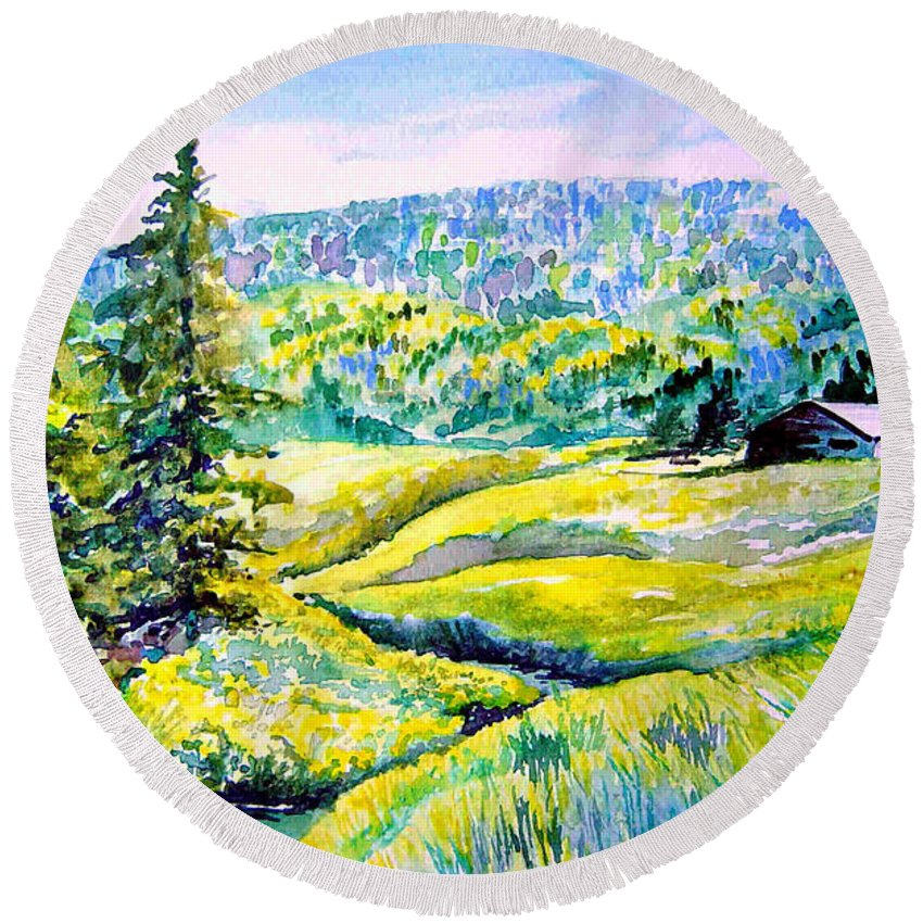 Arkansas Creek And Cottage Round Beach Towel featuring the painting Creek To The Cabin by Joanne Smoley