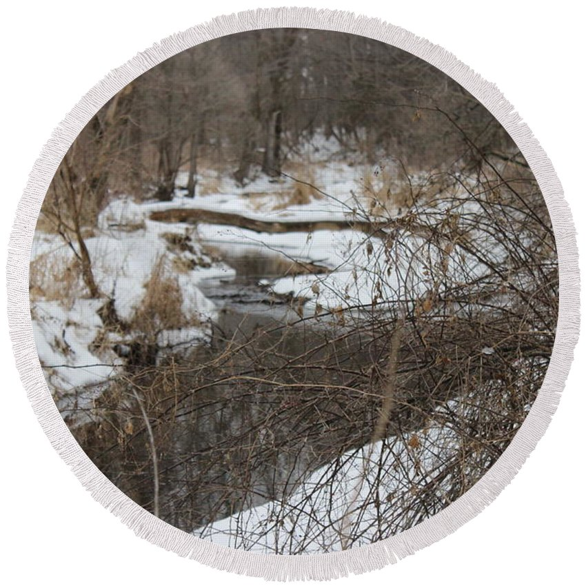 Snow Round Beach Towel featuring the photograph Creek Winding Through The Snow by Cliff Ball