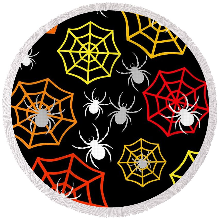 Happy Halloween Design Round Beach Towel featuring the digital art Creepy Crawlers by Kathleen Sartoris