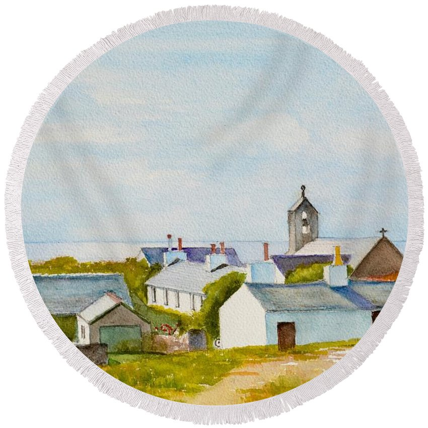 Island Round Beach Towel featuring the painting Cregneash And St Peters Church by Dai Wynn