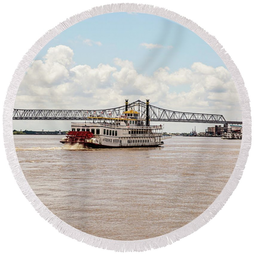 River Round Beach Towel featuring the photograph Creole Queen New Orleans by Scott Pellegrin