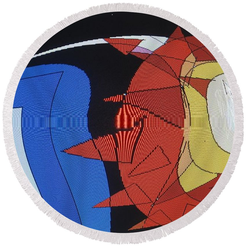 Abstract Round Beach Towel featuring the digital art Crescendo One by Ian MacDonald
