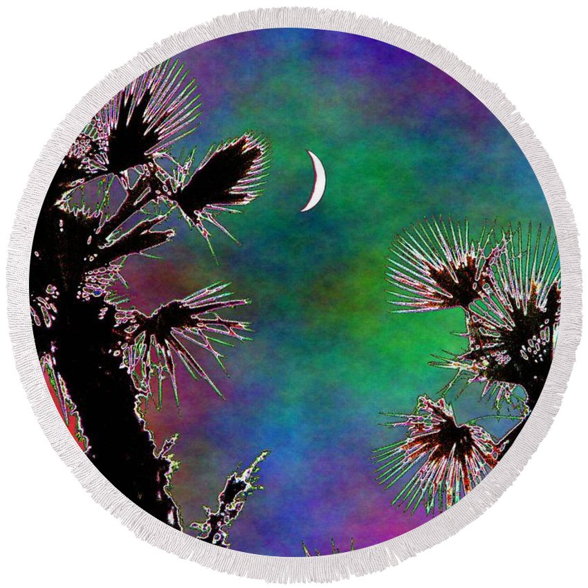 Moon Round Beach Towel featuring the photograph Crescent And Palms 2 by Tim Allen
