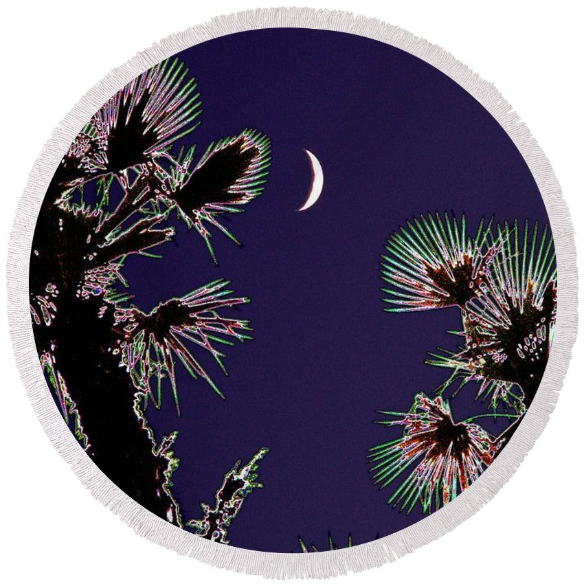 Moon Round Beach Towel featuring the photograph Crescent And Palms by Tim Allen