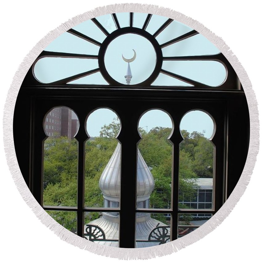 University Of Tampa Round Beach Towel featuring the photograph Crescent Window by Jost Houk