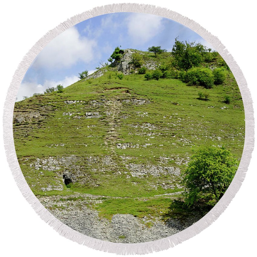 Bright Round Beach Towel featuring the photograph Cressbrook Dale Opposite To Tansley Dale by Rod Johnson