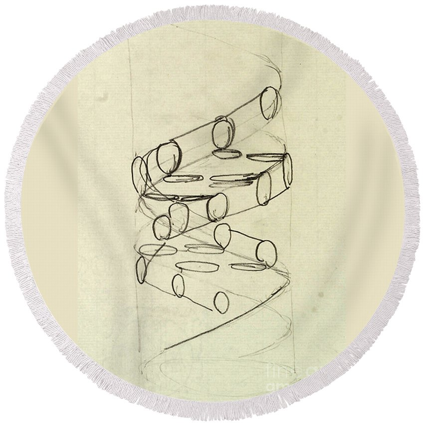 Dna Round Beach Towel featuring the photograph Cricks Original Dna Sketch by Science Source
