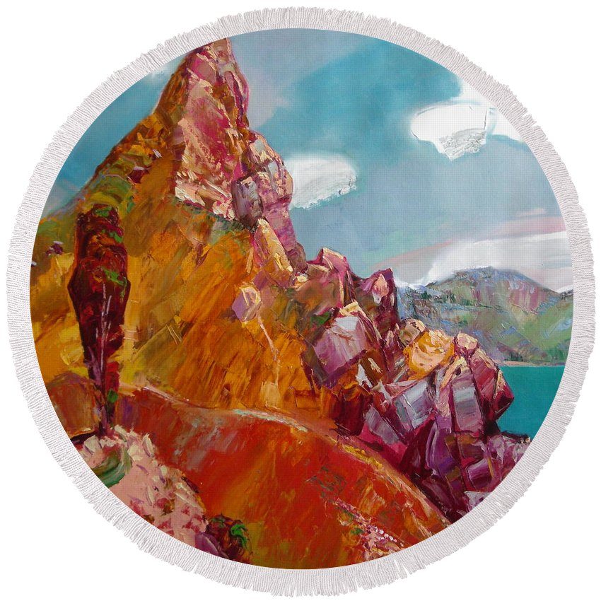 Ignatenko Round Beach Towel featuring the painting Crimea by Sergey Ignatenko