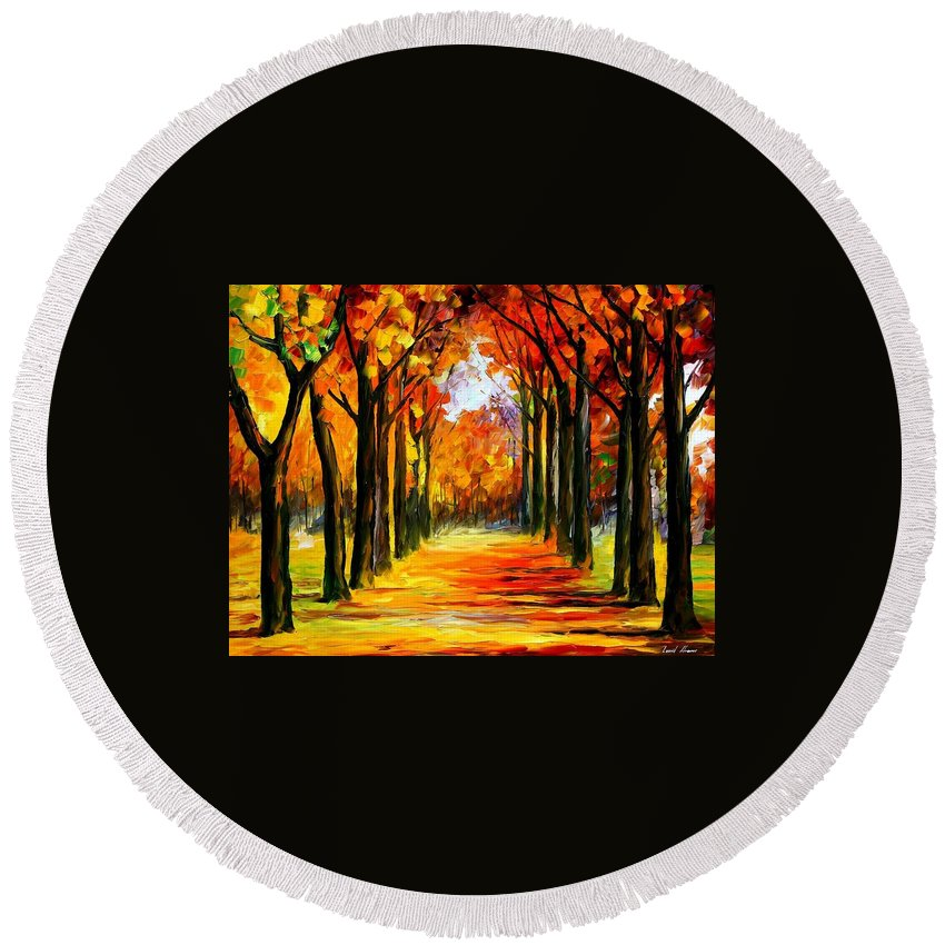 Afremov Round Beach Towel featuring the painting Crimson Alley by Leonid Afremov