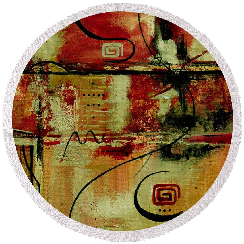 Abstract Round Beach Towel featuring the painting Crimson And Copper by Ruth Palmer