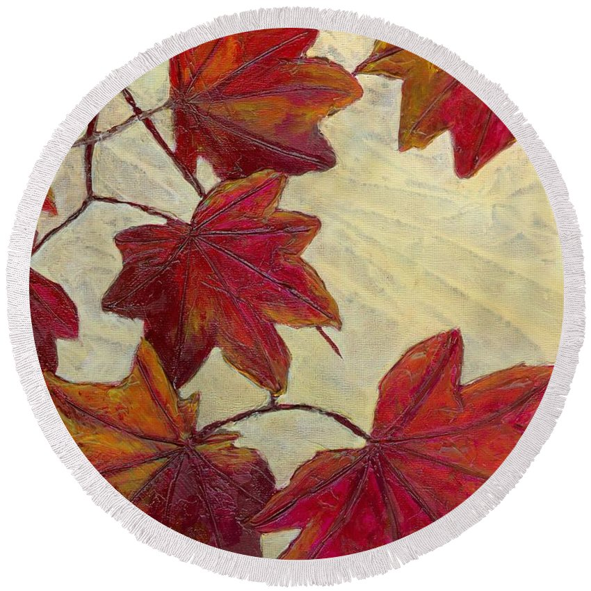 Autumn Round Beach Towel featuring the painting Crimson Branch by Wanda Pepin