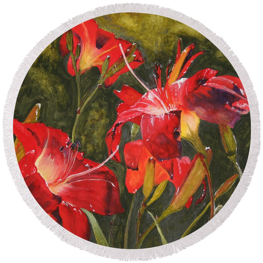 Red Round Beach Towel featuring the painting Crimson Light by Jean Blackmer
