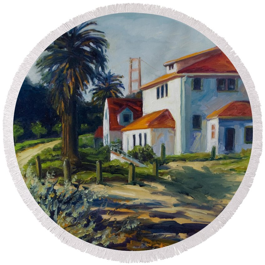 San Francisco Round Beach Towel featuring the painting Crissy Field by Rick Nederlof