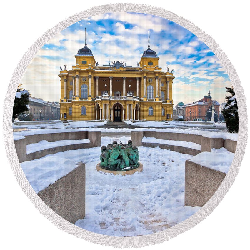 Zagreb Round Beach Towel featuring the photograph Croatian National Theater In Zagreb Winter View by Brch Photography