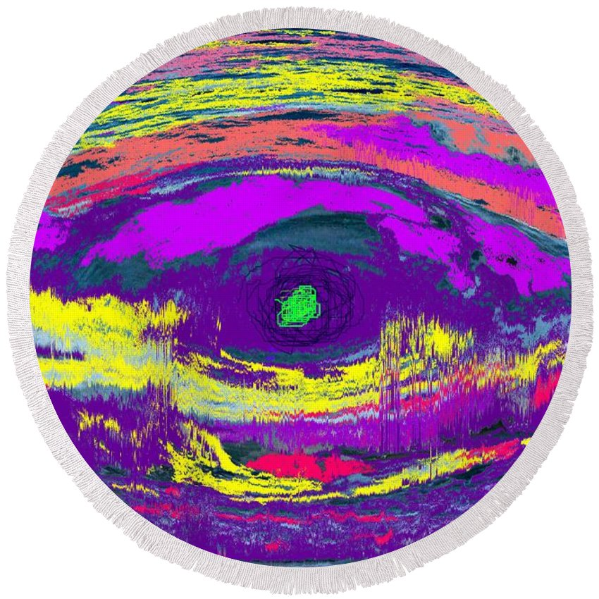 Abstract Round Beach Towel featuring the digital art Crocodile Eye by Ian MacDonald