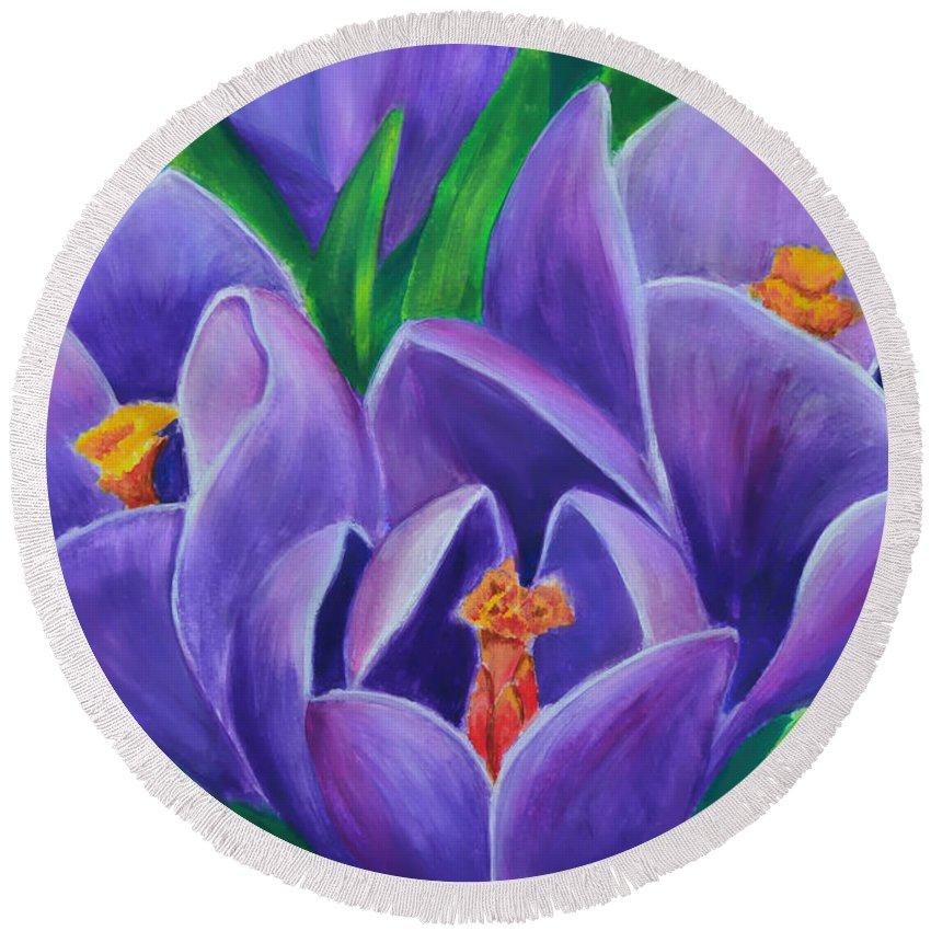 Crocus Flowers Round Beach Towel featuring the painting Crocus Flowers by Olga Hamilton