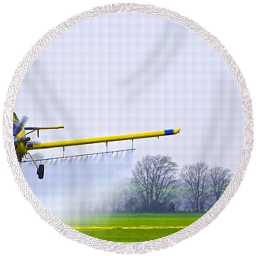 Flying Round Beach Towel featuring the photograph Too Close For Comfort - Crop Dusting 2 Of 2 by Charlie Brock