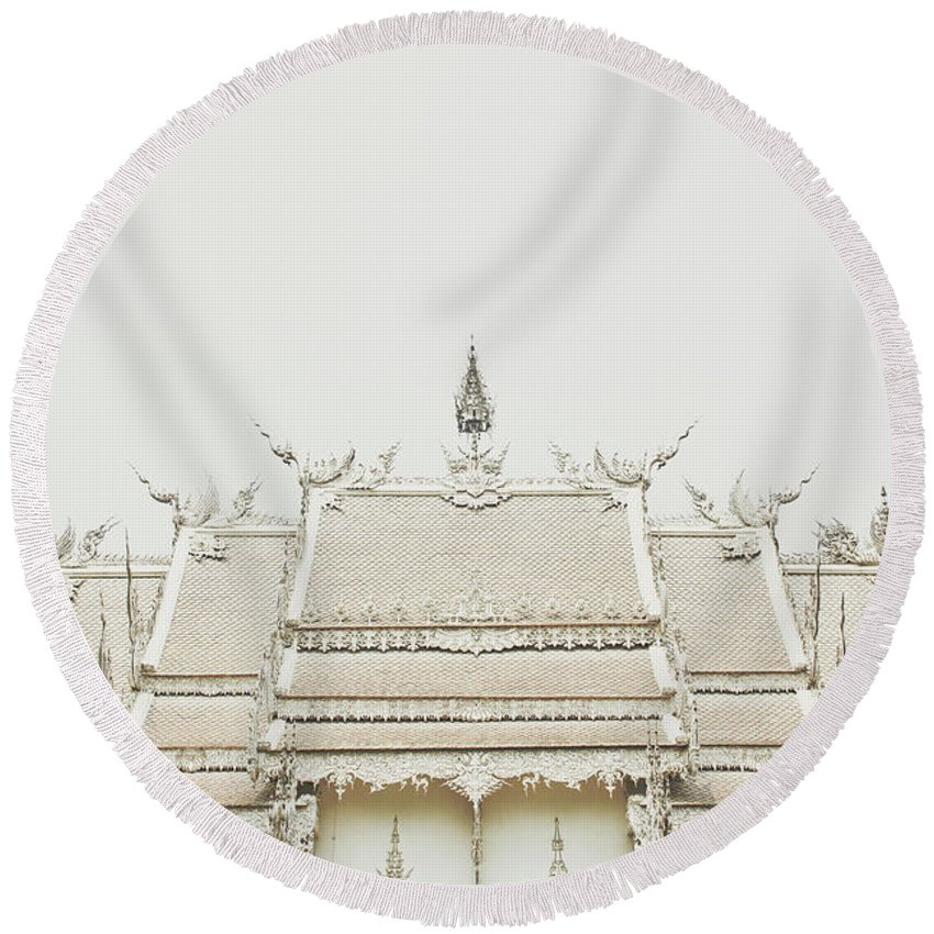 Architecture Round Beach Towel featuring the photograph Crop Of A Exquisite And Magnificent Roof Of White Temple Aka Wat Rong Khun In Thailand by Srdjan Kirtic