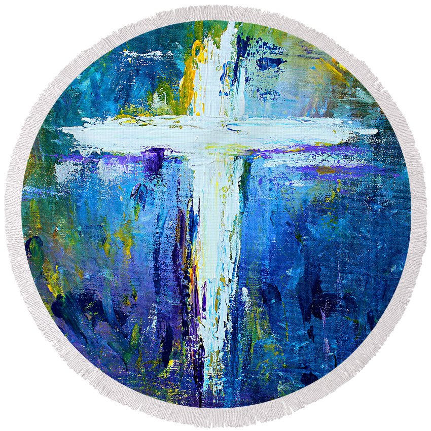 Christian Round Beach Towel featuring the painting Cross - Painting #4 by Kume Bryant
