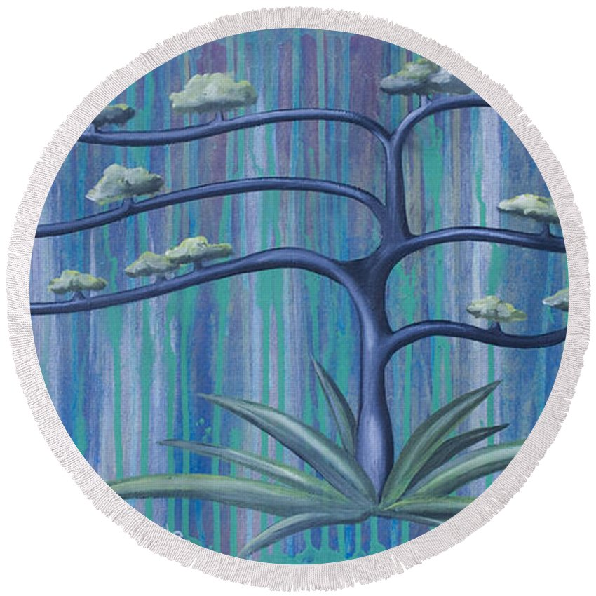 Tree Round Beach Towel featuring the painting Cross Tree by Kelly Jade King