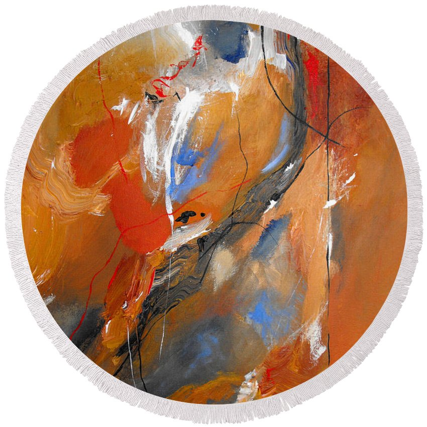 Abstract Round Beach Towel featuring the painting Crossing Over by Ruth Palmer