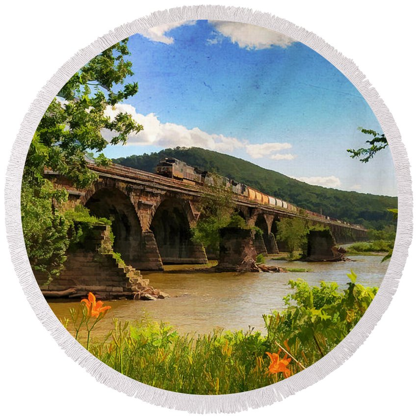 Landscape Round Beach Towel featuring the photograph Crossing The Susquehanna by Lois Bryan