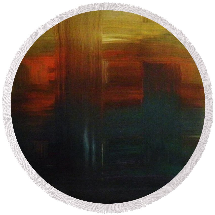 Abstract Round Beach Towel featuring the painting Crossroads by Todd Hoover