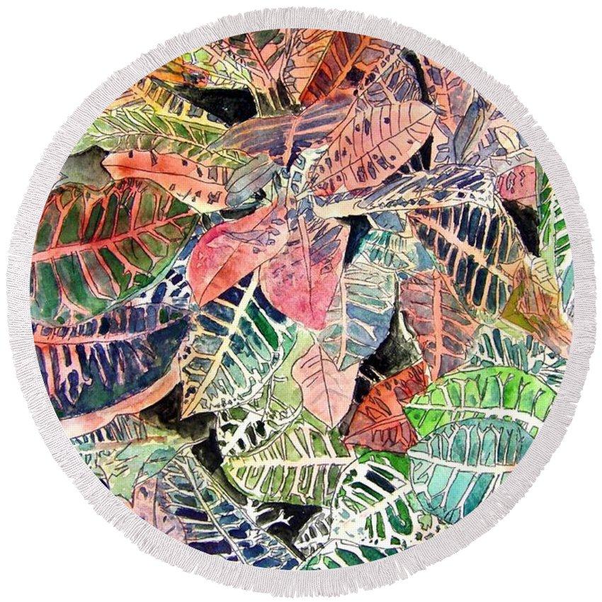 Croton Round Beach Towel featuring the painting Croton Tropical Art Print by Derek Mccrea