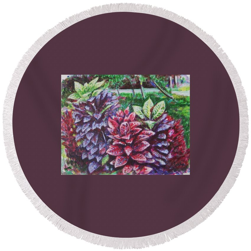 Landscape Round Beach Towel featuring the painting Crotons 1 by Usha Shantharam