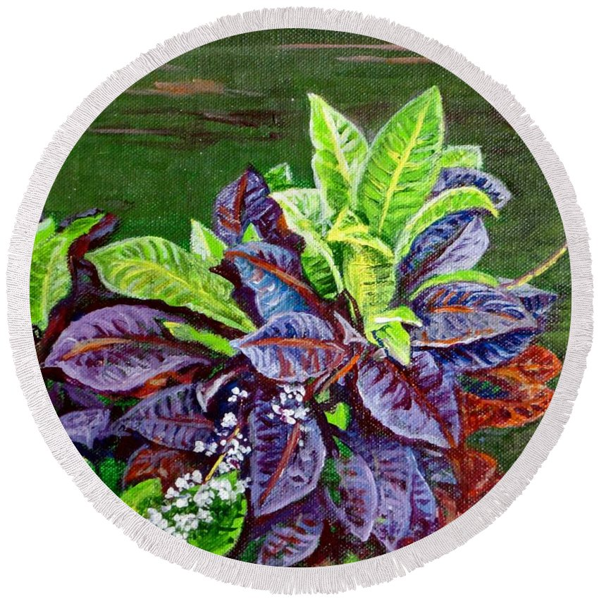 Crotons Round Beach Towel featuring the painting Crotons 2 by Usha Shantharam