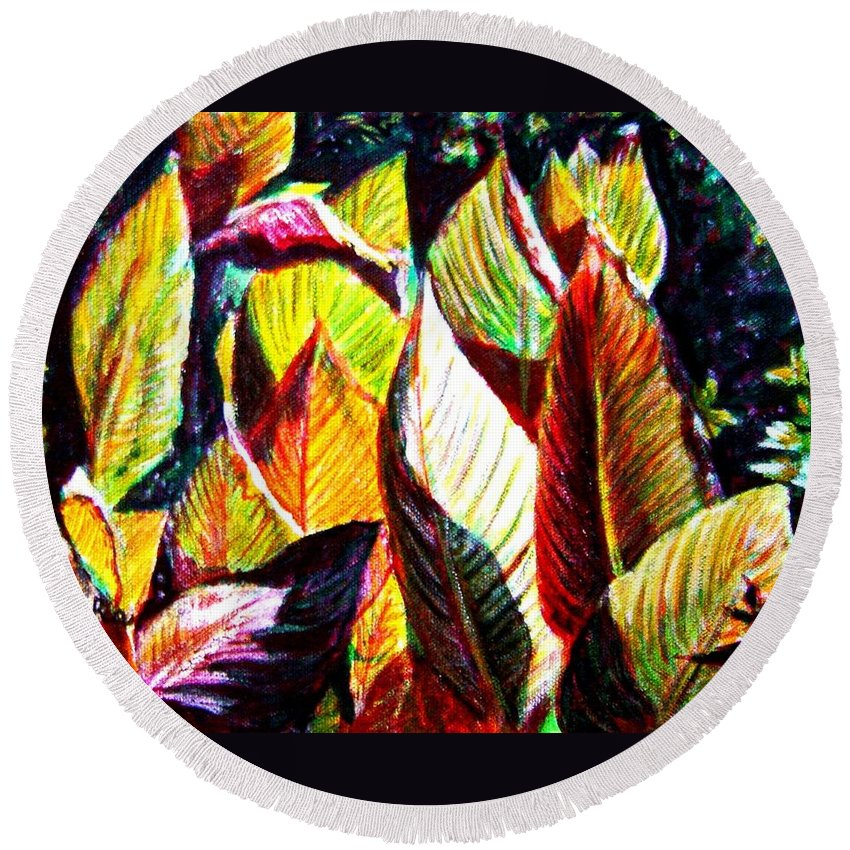 Plants Round Beach Towel featuring the painting Crotons Sunlit 2 by Usha Shantharam