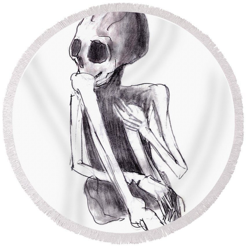 Crouched Skeleton Round Beach Towel featuring the drawing Crouched Skeleton by Michal Boubin