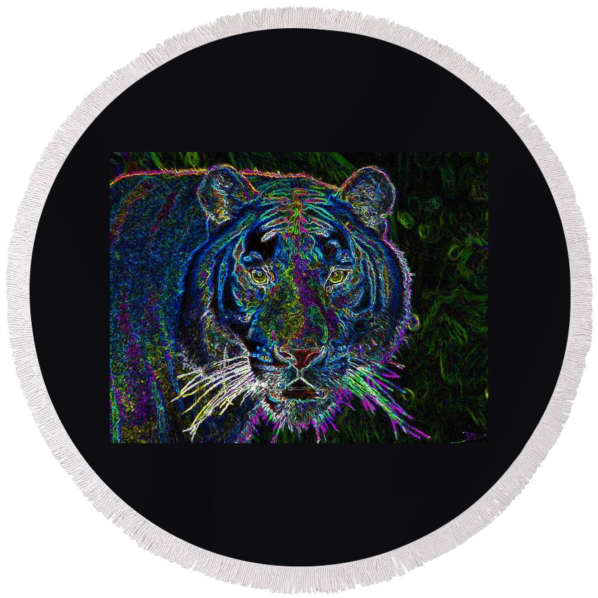 Art Round Beach Towel featuring the painting Crouching Tiger by David Lee Thompson