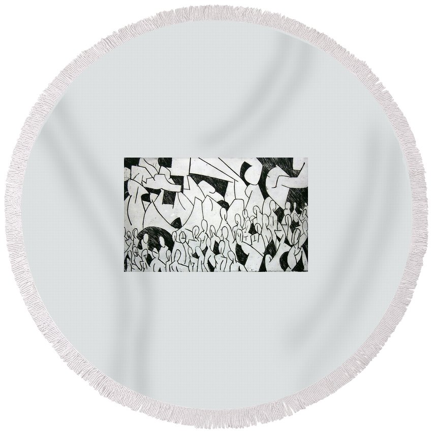 Etching Round Beach Towel featuring the print Crowd by Thomas Valentine