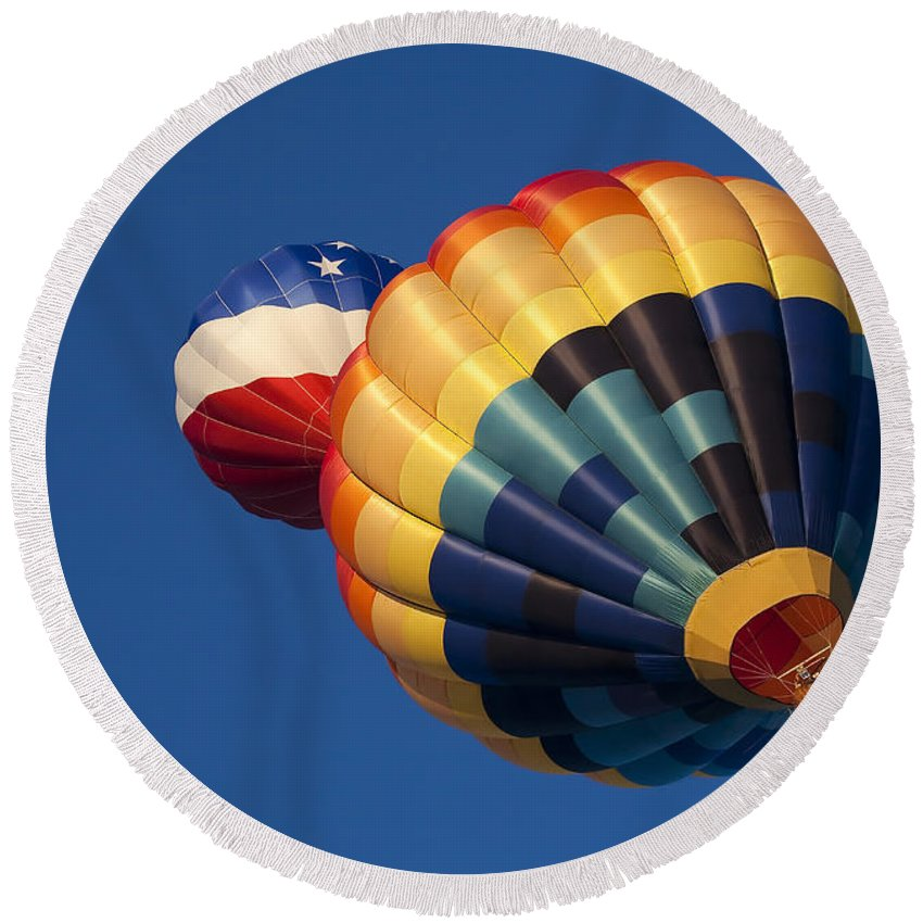 Balloon Round Beach Towel featuring the photograph Crowded Pattern by Mike Dawson